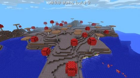 All of the mushroom cows in Minecraft 0.9.0 + seed