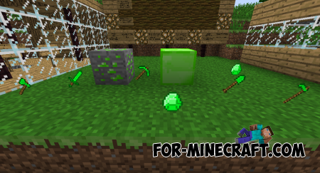 Emerald Tools and Armor mod for Minecraft PE 0.10.x/0.9.5