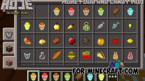 More food and Candy mod for Minecraft PE 0.10.4
