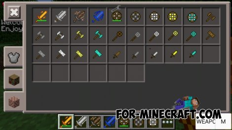 Weapons mod v3.0 for MCPE 0.10.5