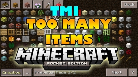 Too Many Items [TMI] mod for Minecraft PE 0.11.1 / 0.11.0