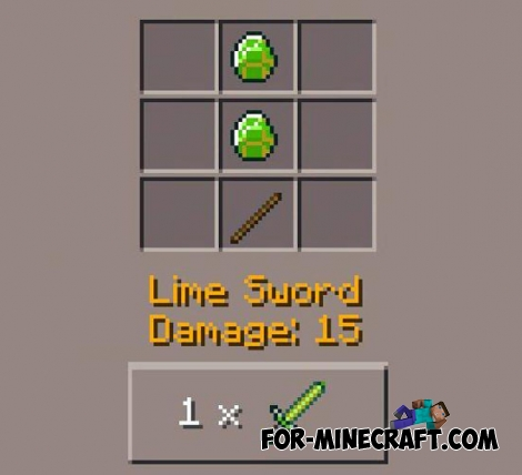 Lime Sword Mod for Minecraft PE 0.11.1