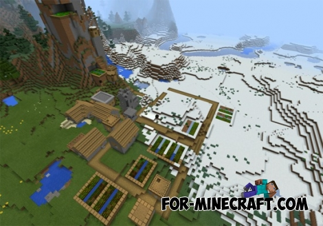 Settlement in the mountains for Minecraft PE