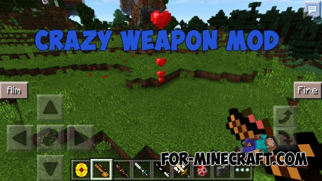 Crazy Weapon mod for MCPE 0.14.0