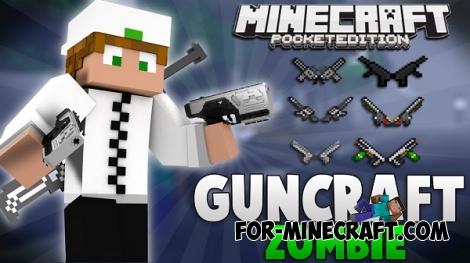 Gun Craft Zombie mod for Minecraft Pocket Edition 0.14.0