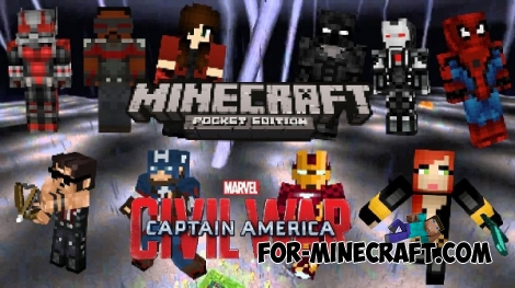 Captain America mod for Minecraft PE 0.15.6