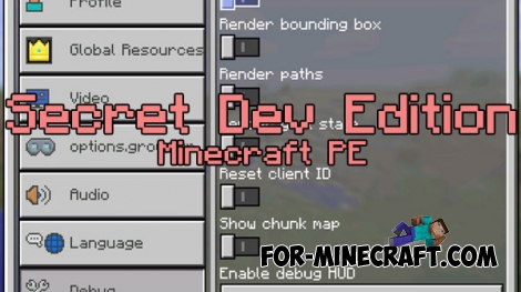 Secret Dev Edition addon v6 for Minecraft PE 0.17.0/1.0.0/1.0.5