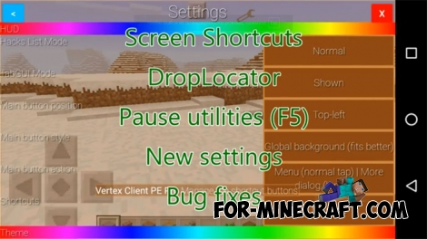 Vertex Client Hack v2.4 for Minecraft PE 0.16.2/1.0.7