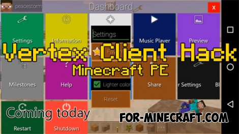 Vertex Client Hack v2.2 for Minecraft PE 0.16.2/1.0.6